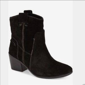 Vince Camuto Maves Black Suede Leather AnkleBoots